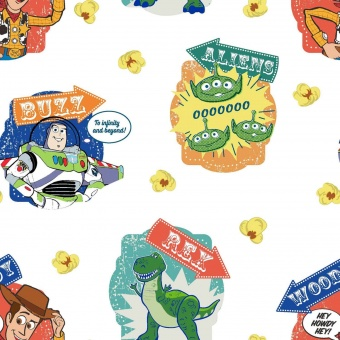 Original Toy Story 4 Lizenzstoff - Pixar Woody, Buzz Lightyear & Co. Meterware Motivstoff