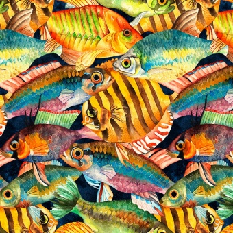 Tropical Fish Motivstoff - Fischstoff mit farbenprächtigen Fischen
