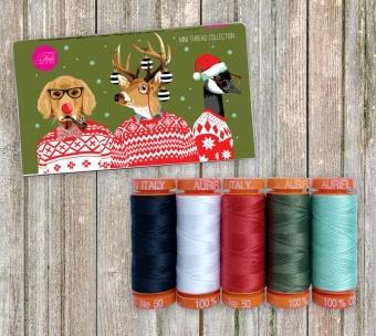 Holiday Homies Tula Pink Premium Mini Thread Collection - Kleines Aurifil Garnsortiment