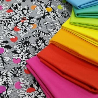Linework Coordinates Palette - Quiltzauberei Stoffregenbogen -  Stoffpaket mit Kona Cotton Solids Unistoffe