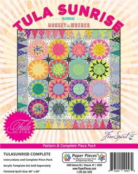 Tula Sunrise Complete Pattern & Paper Piece Set - Tula Pink feat. Monkey Wrench - Paper Pieces Anleitung & Papierschablonen