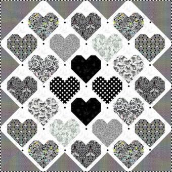 Retro Hearts Quilt Anleitung - Tula Pink Linework Designerstoffe Pattern - FreeSpirit Patchworkdecke - GRATIS DOWNLOAD!