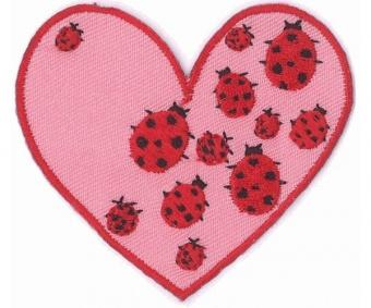 Marienkäfer Herzchen Applikation - Rosa Herz Bügelapplikation