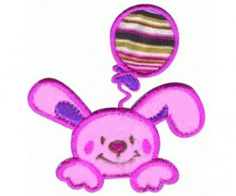 Rosa-Pinkes Häschen mit Luftballon Bügelapplikationen