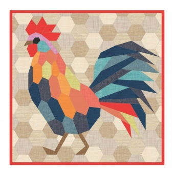 The Rooster Quilt  - Eulen Quilt by Violet Craft - Anleitung / Schnittmuster Hahn EPP Schablonen