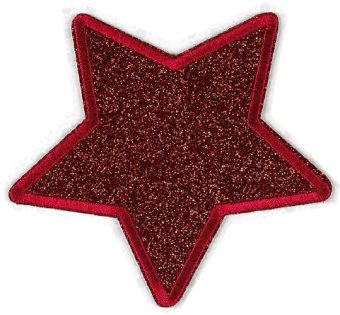 Roter Stern - Glitter Sternchen Patch Flicken Bügelapplikationen