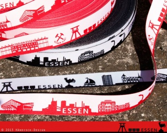 Essen - Meine Heimat Skyline Webband / Bändchen - Meterware - schwarz-weiß