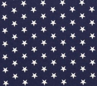 Weiße Sterne auf marineblauem Grund - Blauer Sternchenstoff
