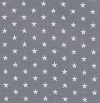 Weiße Sterne auf grauem Grund - Grauer Sternchenstoff