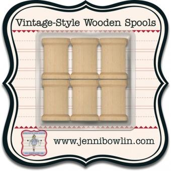 Leere, kleine  Holzspulen / Zierspulen / Holzgarnspulen