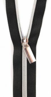 Silber & Schwarz Endlosreißverschluss & Zupfer - Silver / Black Zipper mit Metallzähnen