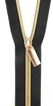Gold & Schwarz Endlosreißverschluss & Zupfer - Gold / Black Zipper mit Metallzähnen - Sallie Tomato