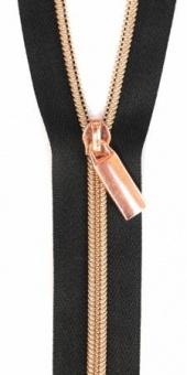 Rosé Gold & Schwarz Endlosreißverschluss & Zupfer - Rosegold / Copper Zipper