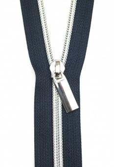 Silber & Marineblau Endlosreißverschluss & Zupfer - Silver Nickel / Navy Zipper mit Metallzähnen - Sallie Tomato
