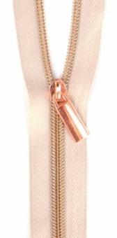 Rosé Gold & Beige Endlosreißverschluss & Zupfer - Rosegold / Copper Zipper