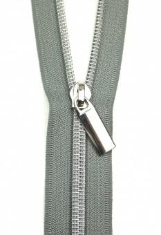 Silber & Grau Endlosreißverschluss & Zupfer - Silver Zipper mit Metallzähnen