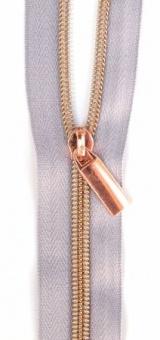 Rosé Gold & Grau Endlosreißverschluss & Zupfer - Rosegold / Copper Zipper