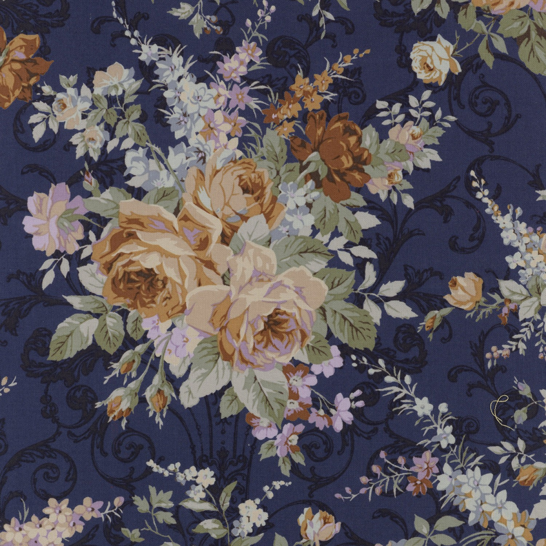 Blauer Vintage Shabby Chic Rosenstoff - Lecien Blumenstoff mit Weboptik -  Floral Antique Rose