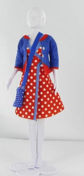 Patsy polka dot kleid jacke handtasche dress your doll